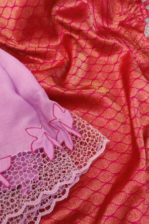 purple chiffon with pink pallu1