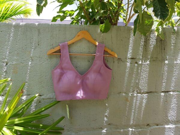 purple sleeveless organza blouse