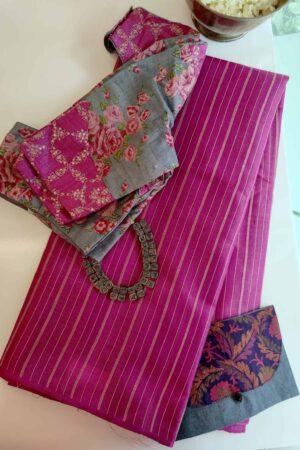 rani pink hand woven tussar saree