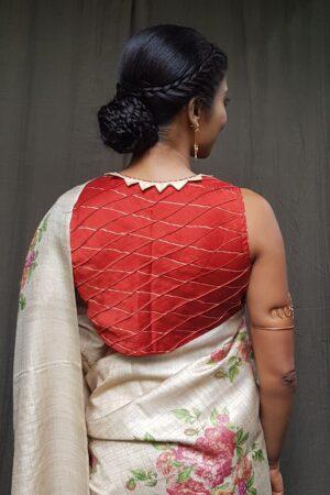 red chanderi sleeveless blouse
