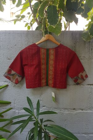 red kanchi cotton blouse