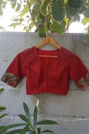 red kanchi cotton blouse1