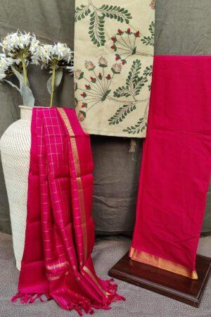 red kanchi silk set