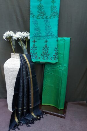 teall green with black silk set