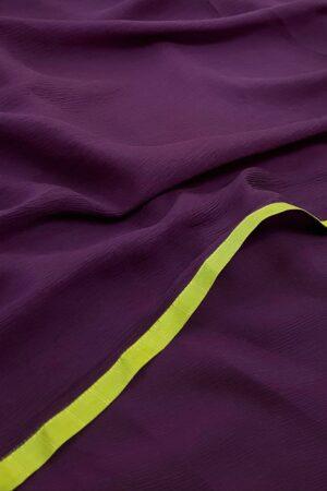 violet chiffon saree with silk border1