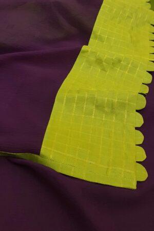 violet chiffon saree with silk border2