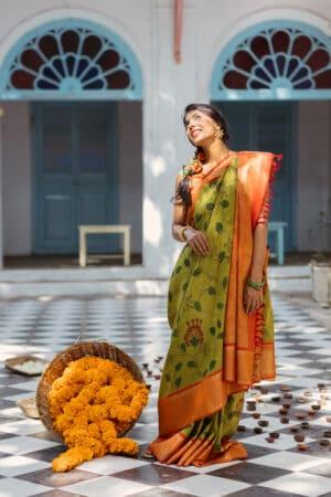 chartreuse green with orange korvai border kanchi silk kalamkari saree1