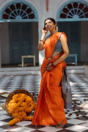 Orange kora silk saree