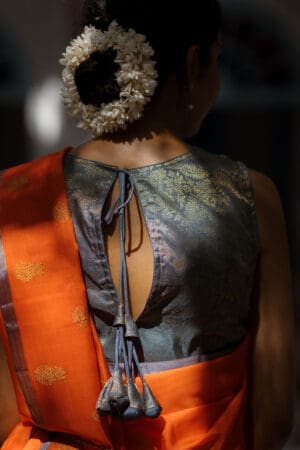 grey kanchi silk sleeveless blouse
