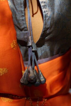 Orange kora silk saree3
