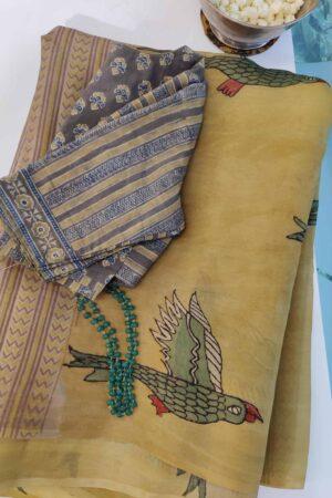 beige organza partly pallu kalamkari saree