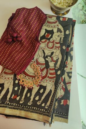 beige with black pallu kalamkari saree