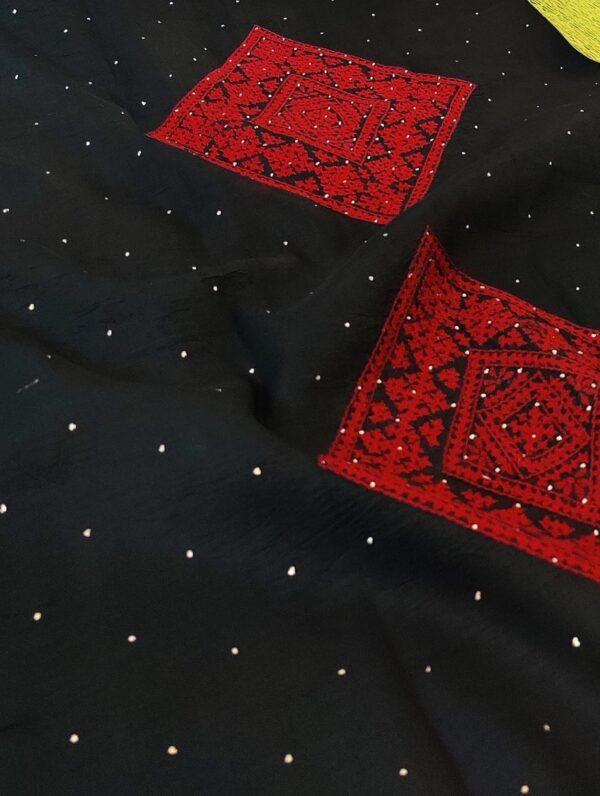 beige with black pallu kalamkari saree1