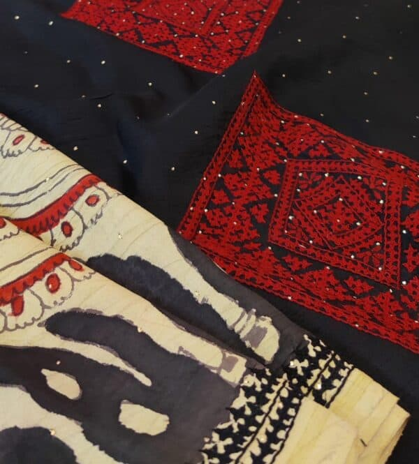 beige with black pallu kalamkari saree2