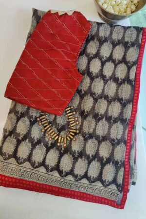 black and beige kota saree with red border