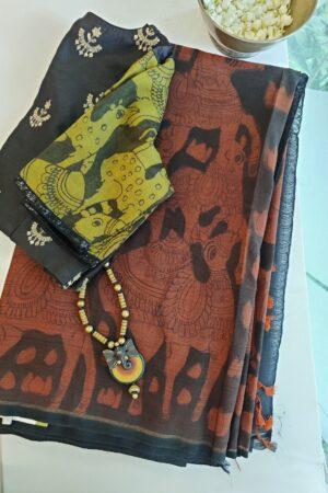 black and rust kanchi silk kalamkari saree
