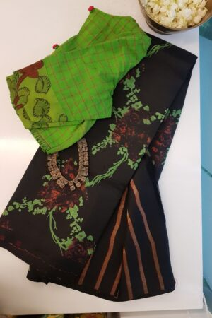 black partly pallu kanchi silk saree with prints