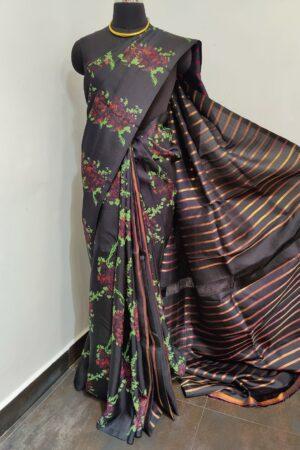 black partly pallu kanchi silks saree with prints 1