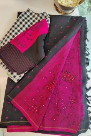 black with pink pallu