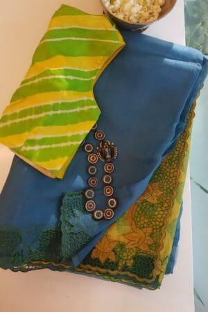 blue with yellow jhaalar organza