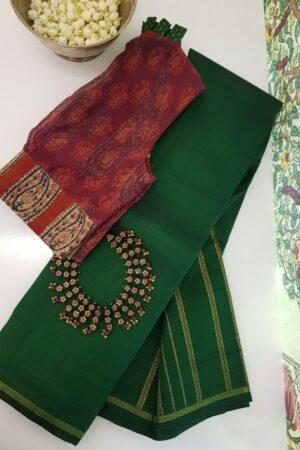 bottle green with seeru pallu