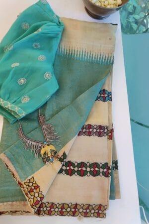 cream and blue box type kanchi silk saree with kalamkari2