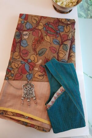 dark beige tussar saree with rising border kalamkari1