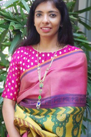 dark pink brocade blouse