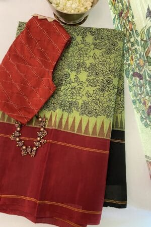 green with black and maroon cotton with silk border