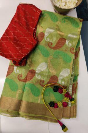 green with paisleys zari kota saree