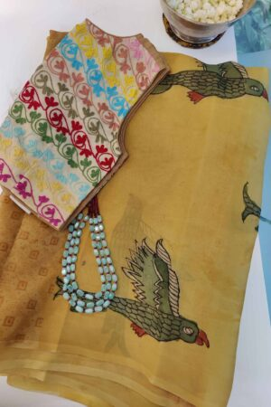 honey mustard organza partly pallu kalamkari saree