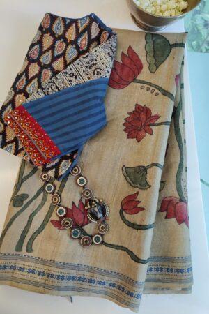 kalamkari painting woven border tussar2