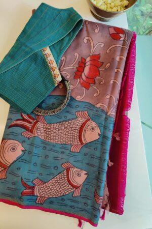 kanchipuram silk saree with fish kalamkari