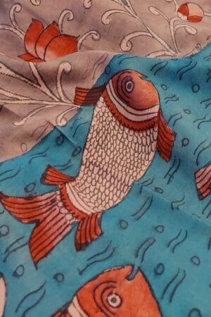kanchipuram silk saree with fish kalamkari2