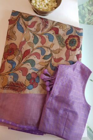 lavender rising borde tussar saree with kalamkari