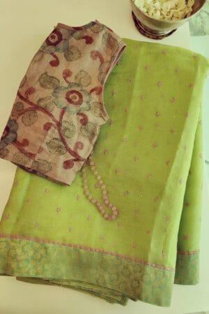 lime green organza saree with kutch work and kanchi silk border