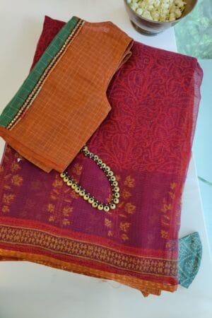maroon kota saree with mustard border