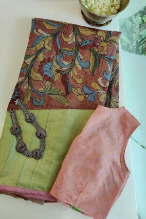 mint green tussar saree with rising border kalamkari