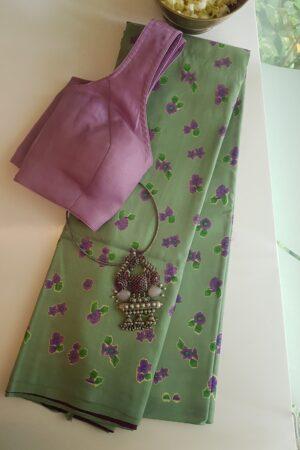 mint green with dark pink pallu