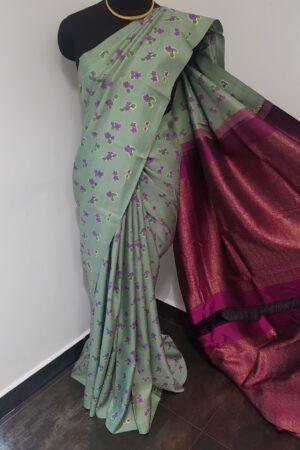 mint green with dark pink pallu4