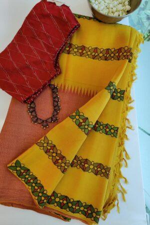 mustard and peach box type kalamkari saree