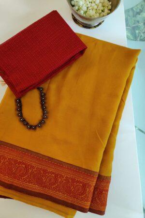 mustard chiffon saree with RED
