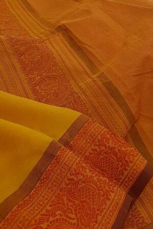 mustard chiffon saree with RED1