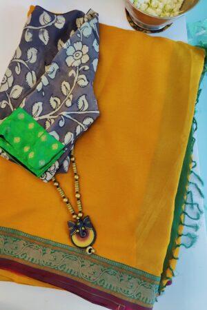 mustard chiffon saree1