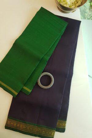 navy blue with green border veshti