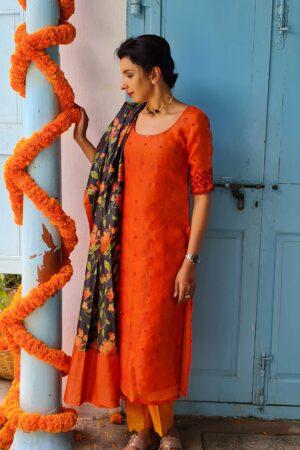 orange organza KURTA WITH KUTCH AND tussar block print dupatta