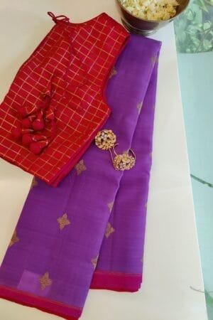 purple kora with pink pallu