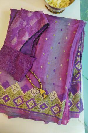purple shaded tussar kutch work