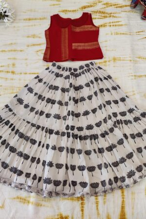 red and beige cotton skirt1