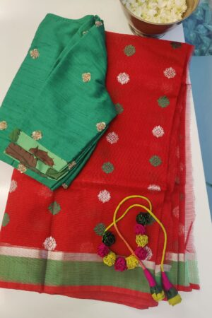red with silver zari and green border